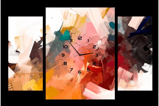 Модульная картина с часами Мазки