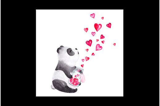 Картина Панда с сердечками