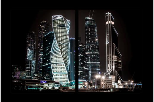 Модульная картина Ночные небоскребы